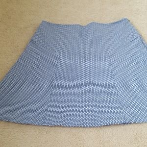 J. McLaughlin Blue White Textured Fit &Flare Skirt